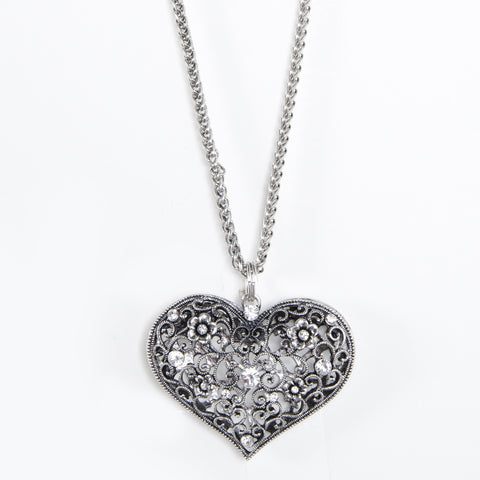 Filigree Antique Silver Heart Pendant with Crystals Necklace