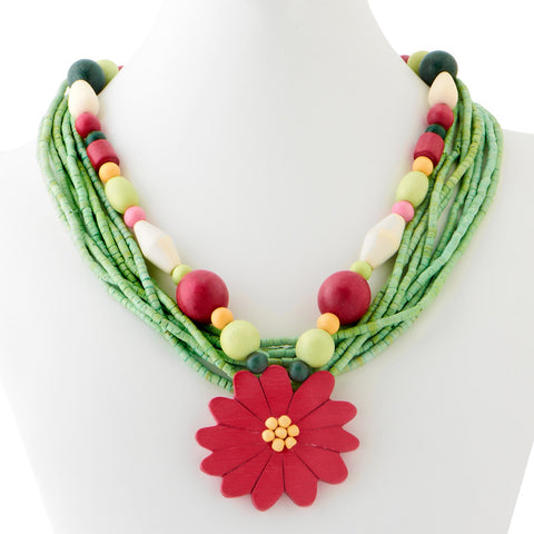 Multi-Wood/Coco Bead with Flower Pendant Necklace