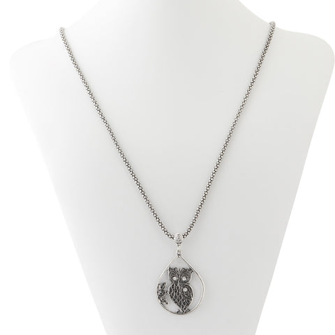 Silver Owl Pendant Necklace