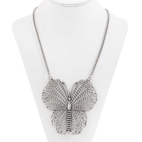 Antique Silver Victorian Butterfly Statement Necklace