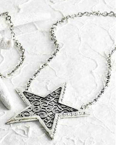 Antique Silver Star Statement Necklace