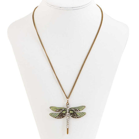 Burnished Gold Enamel And Crystal Dragonfly Pendant