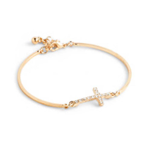 Gold And Crystal Cross Bracelet