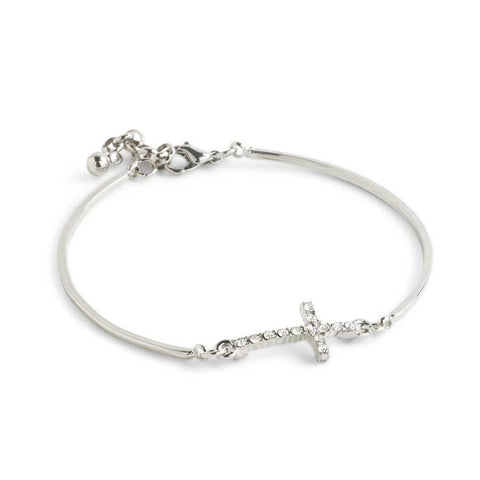 Silver And Crystal Cross Bracelet