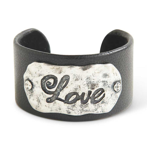 Leather and Hammered Antique Silver Love Cuff Bracelet