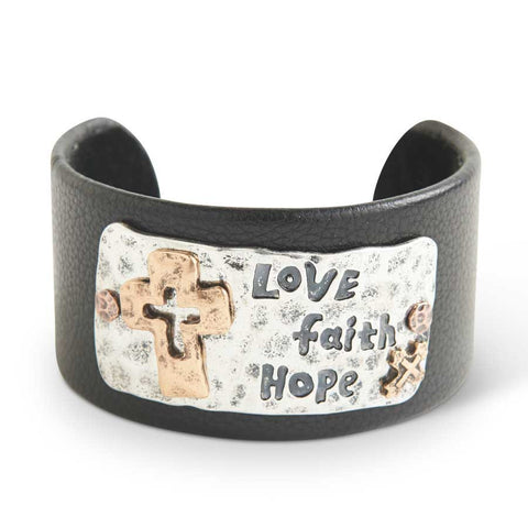 Leather and Hammered Antique Silver and Gold Love Faith Hope Cuff
