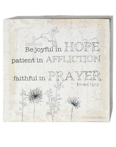 Be Joyful In Hope Box Sign