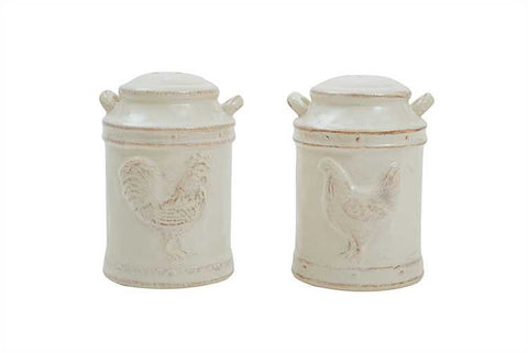 Ceramic Embossed Chicken Salt And Pepper Shakers