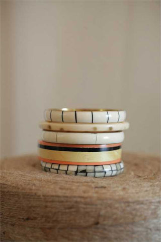 "9"" Stripe Horn Bracelets, Set of 5"