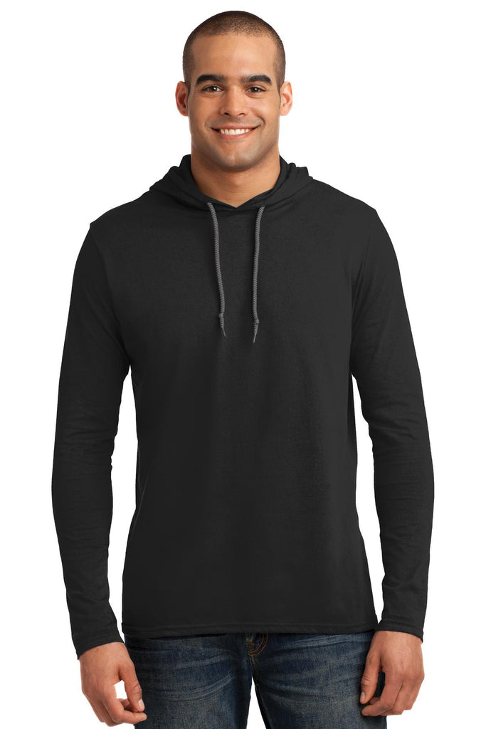 Anvil® 100% Ring Spun Cotton Long Sleeve Hooded T-Shirt. 987 - Anvil - Officers Only - 1
