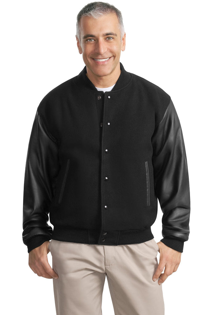 Port Authority® Wool and Leather Letterman Jacket.  J783 - Port Authority - Officers Only