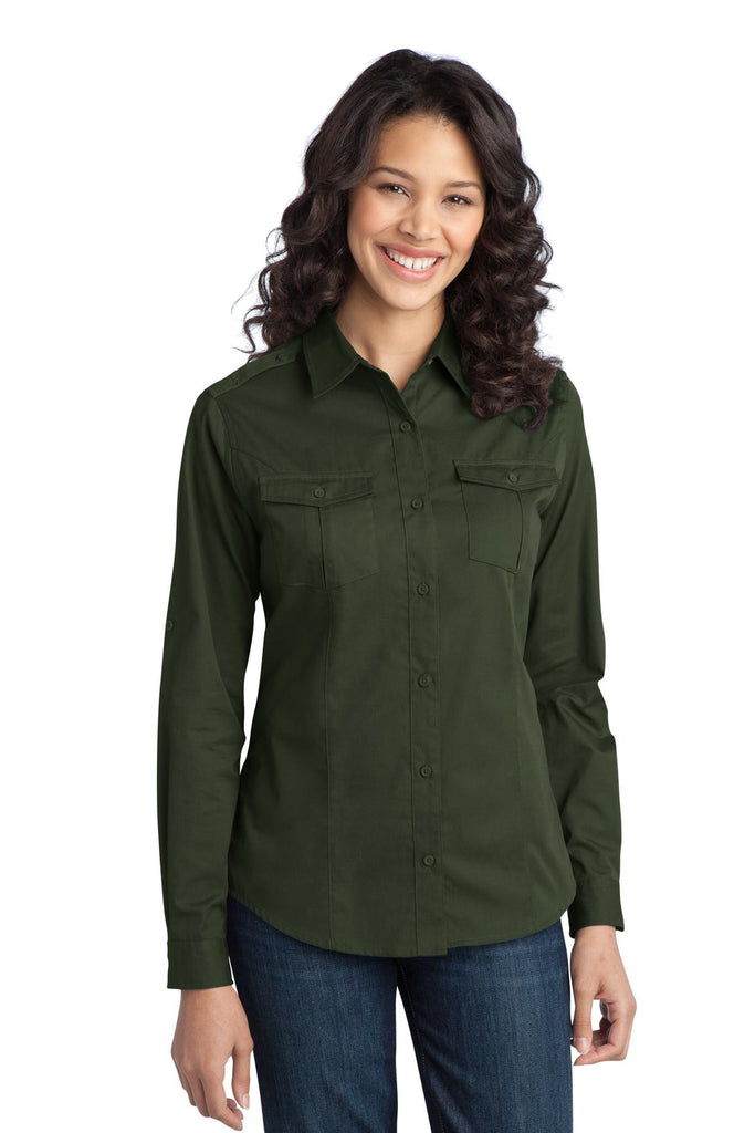 Port Authority® Ladies Stain-Resistant Roll Sleeve Twill Shirt. L649 - Port Authority - Officers Only - 1
