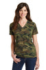 Port & Company® Ladies 5.4-oz 100% Cotton V-Neck Camo Tee.  LPC54VC - Port & Company - Officers Only - 2