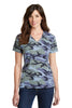Port & Company® Ladies 5.4-oz 100% Cotton V-Neck Camo Tee.  LPC54VC - Port & Company - Officers Only - 5