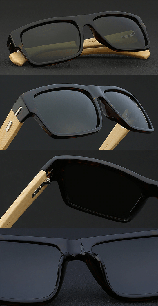 polarised square wooden sunglasses