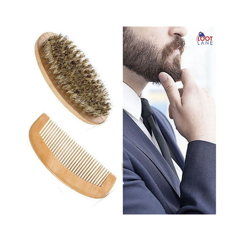 Boar Bristle Beard Brush and Handmade Beard Comb Kit