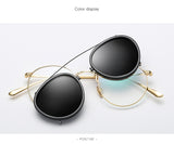 Oculos Lens Clip On Round Sunglasses