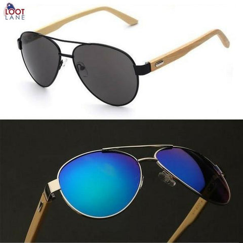 38fe0174081 Sunglasses - Aviator Wooden Sunglasses