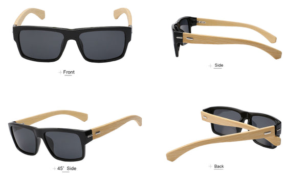 Sunglasses - Square Polarized Wood Sunglasses