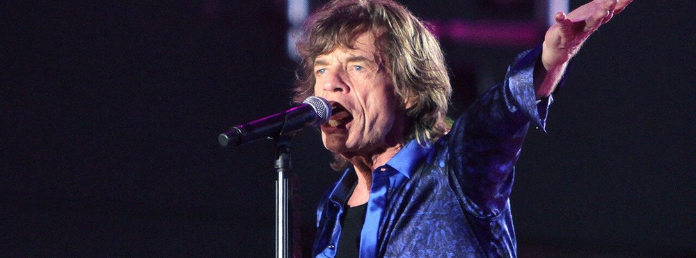 Mick Jagger singing with microphone