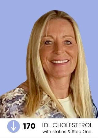"""Blonde customer Cindy, with blue and white shirt on a lavender background. Text at footer of image reads, """"170 LDL Cholesterol lowered with statins and Step One Foods."""