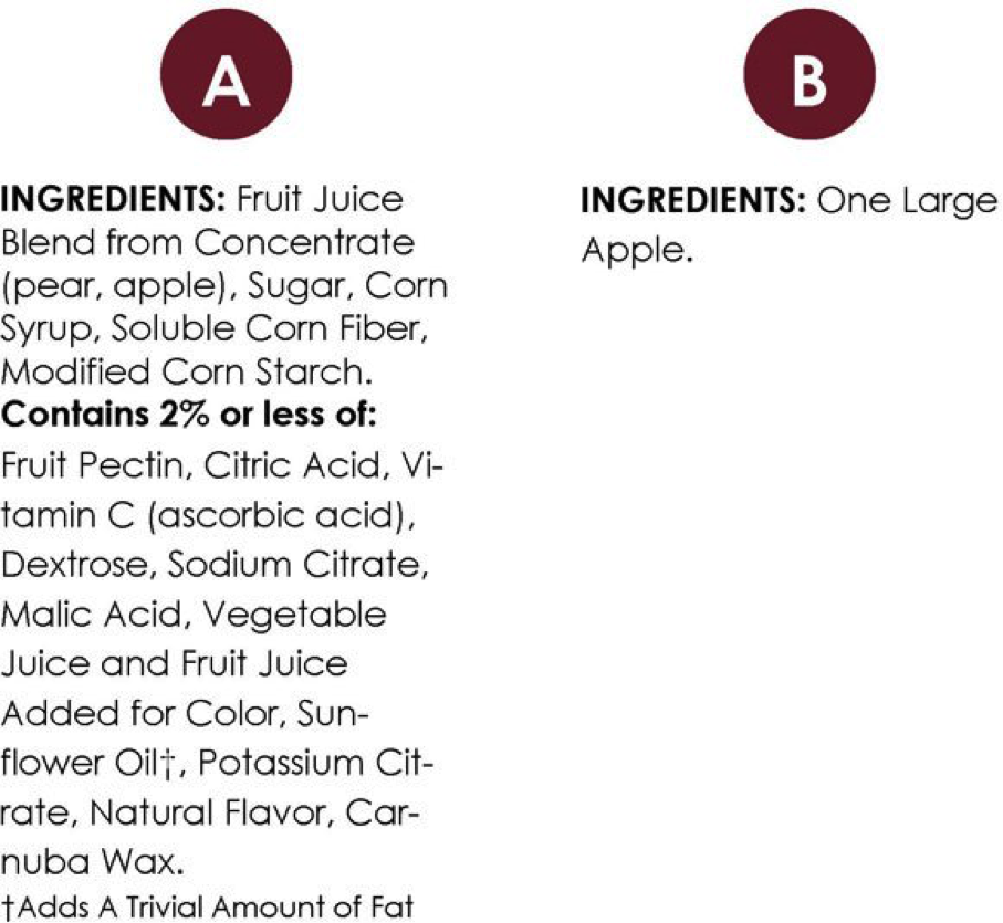 ingredient list quiz