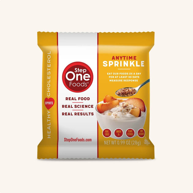 Front View of Anytime Sprinkle single package on a cream colored background, 28g
