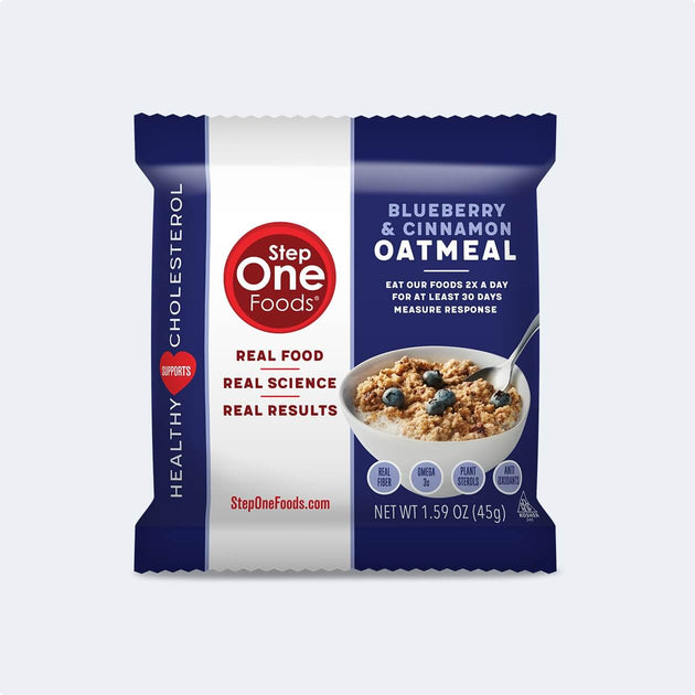 Front View of Blueberry Oatmeal single package on a cream colored background, 45g