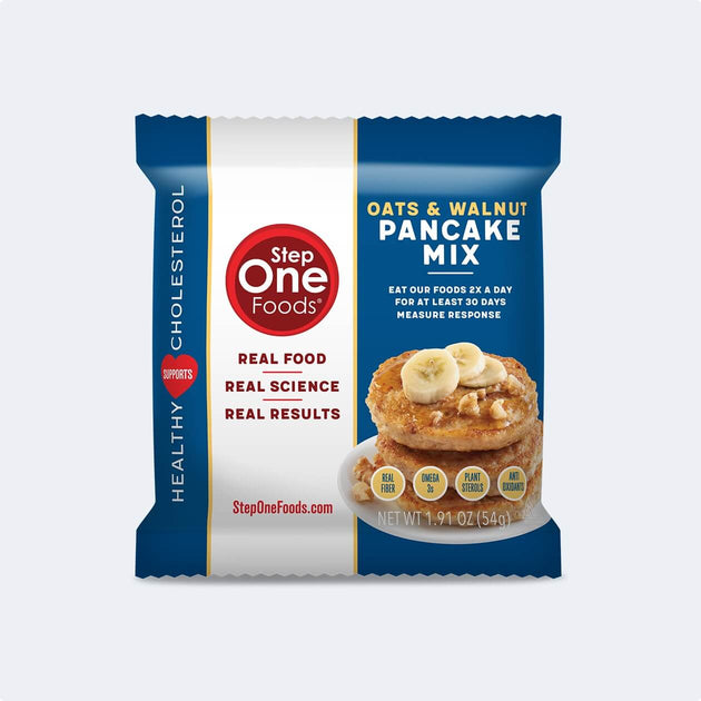 Front View of Whole Oats & Walnut Pancake Mix single package on a light grey colored background, 54g