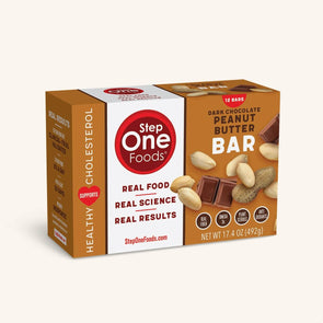 Front View of the Peanut Butter Bars box of 12 servings on a cream colored background, 492g
