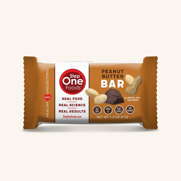 Front View of Peanut Butter Bar single package on a cream colored background, 28g