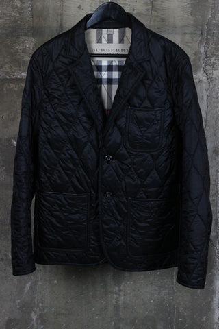 Burberry Gillington Leather Trim Quilted Jacket