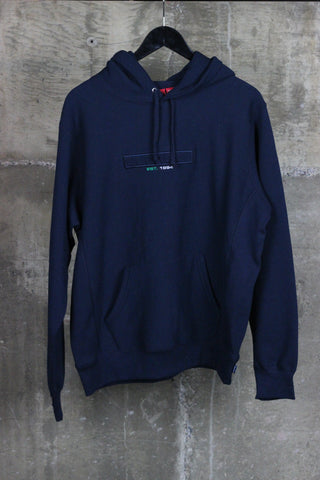 Supreme Embossed Logo Hooded Sweatshirt (SS18) Navy