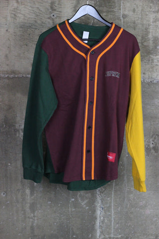 Supreme Color Blocked Baseball Top Burgundy