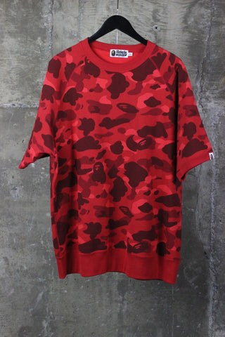 A Bathing Ape Red Camo Shortsleeve Sweater