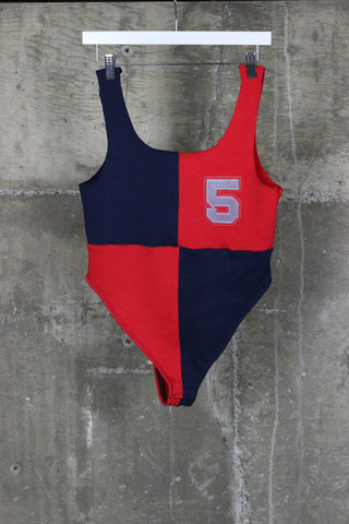 The Gateway District Vintage Reworked Varsity Body Suit Navy/Red