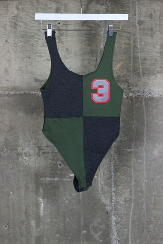 The Gateway District Vintage ReWorked Varsity Body Suit Green/Grey