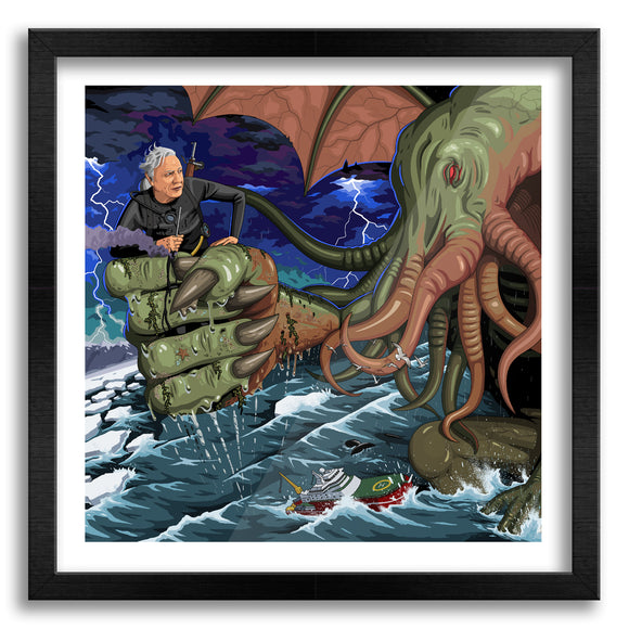Sir David Vs Cthulhu Art Print