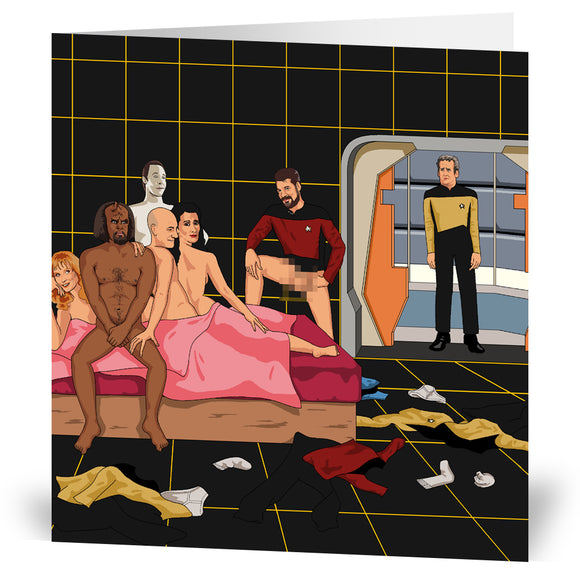 Awkward Star Trek Orgy Greeting Card
