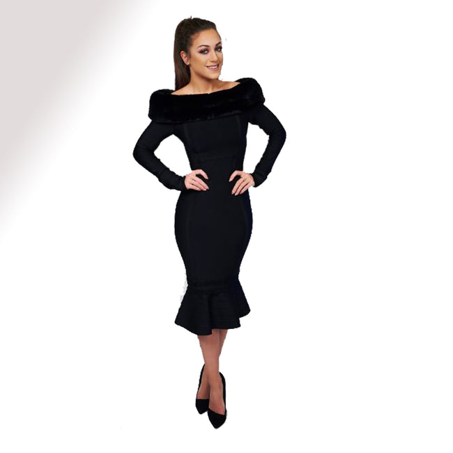Black fur trim long sleeves mermaid bandage dress - iulover