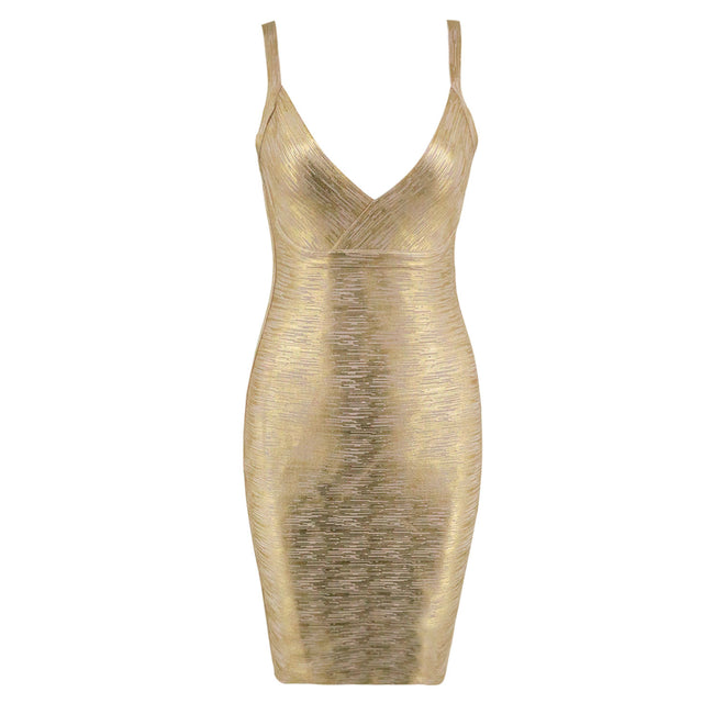 Gold Print V neck Bandage Dress