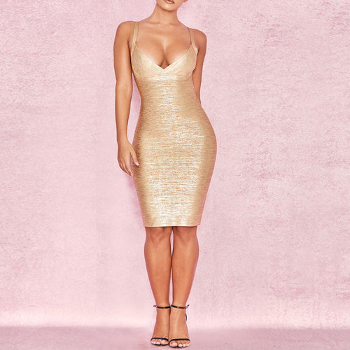 Gold Print V neck Bandage Dress - iulover