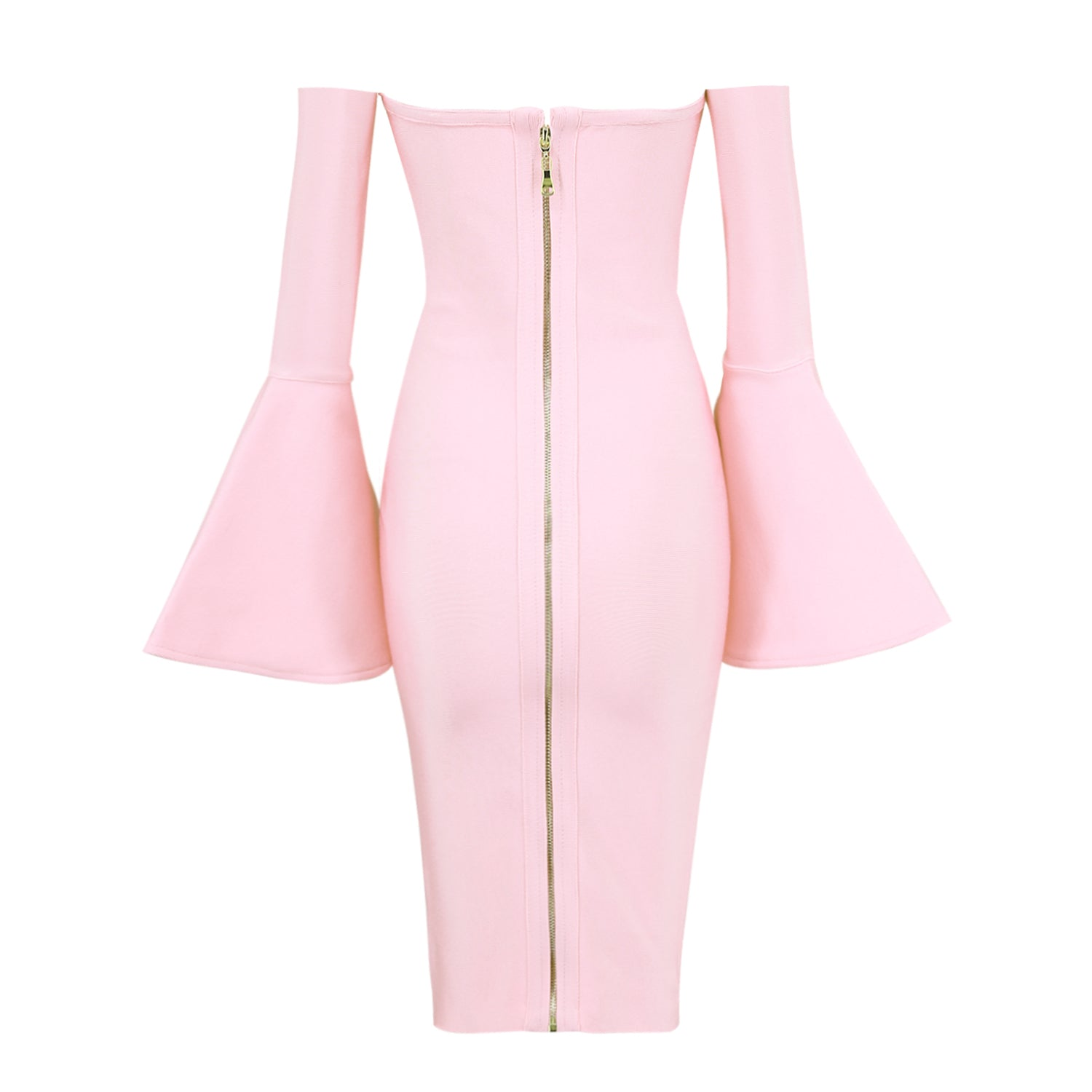 Pink Strapless Long Sleeves Bandage Dress