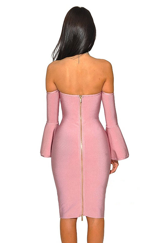 Pink Strapless Long Sleeves Bandage Dress - iulover