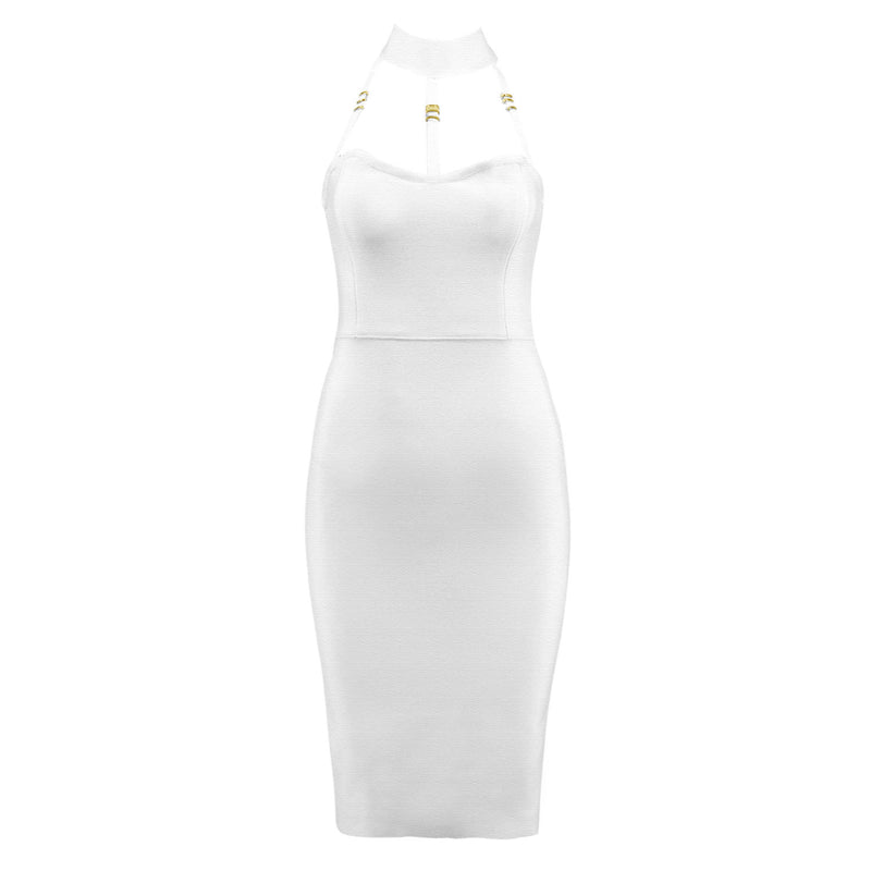 White Halter Bandage Dress Sexy Bodycon Dress - iulover
