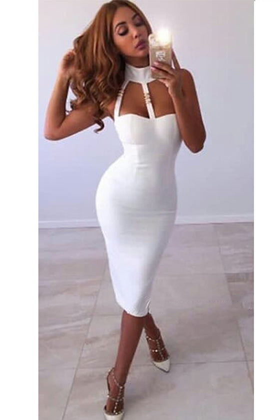White Halter Bandage Dress Sexy Bodycon Dress
