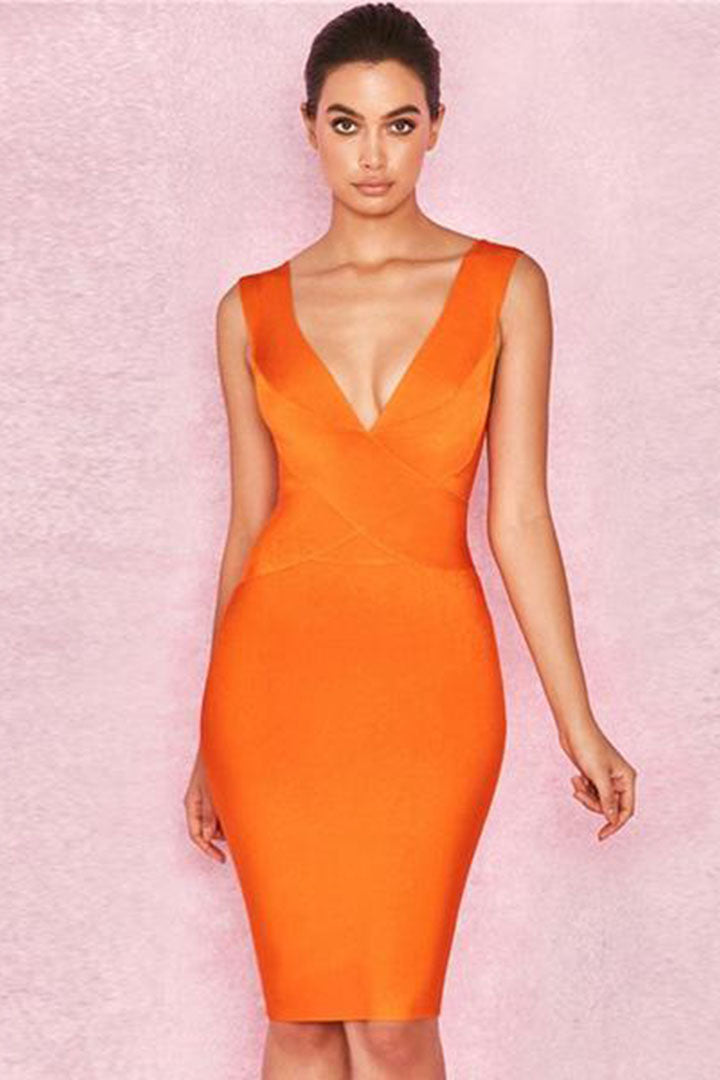Orange V Neck Sexy Bandage Dress - iulover