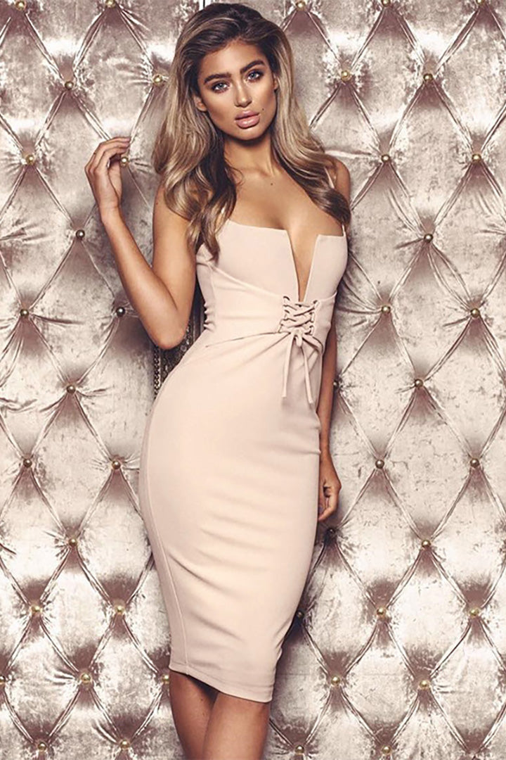 Apricot Spaghetti Strap Deep V Bandage Dress - iulover
