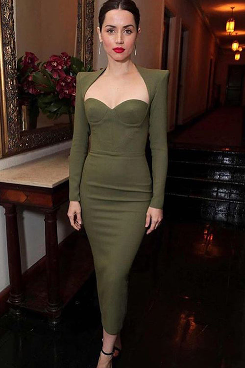 Army Green Long Sleeve Knee Length Midi Bandage Dress