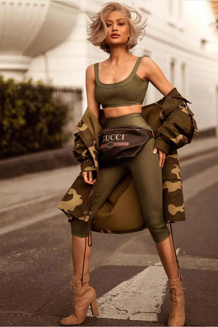 Army Green Bandage Ribbed High Waist Capri Two Piece Set - iulover